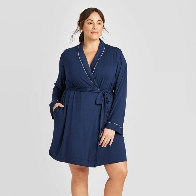 Women's Plus Size Beautifully Soft Robe - Stars Above™ Navy 1X-2X
