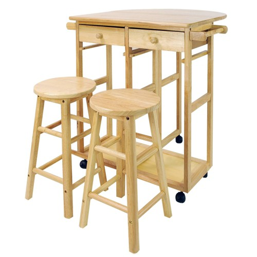 3 Piece Breakfast Cart Set with 2 Stools Wood/Natural
