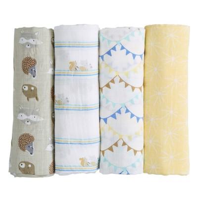 Patina Vie Muslin Swaddle Blanket Set - Woodland Friends 4pc