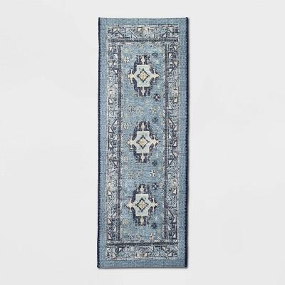 "60"" x 22"" Vintage Persian Medallion Kitchen Runner Rug Blue - Threshold™"