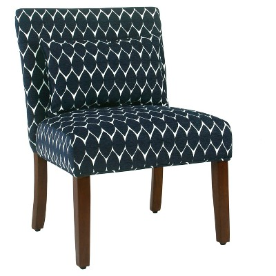 Parker Accent Chair with Pillow - Textured Navy - HomePop