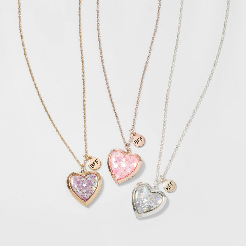 Image of Girls' 3pk Confetti Heart Necklace - Cat & Jack Gold/Silver, Women's, Gold Silver