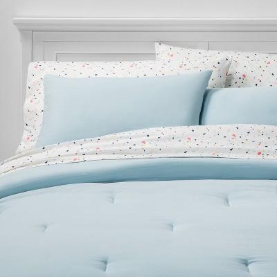 Queen 7pc Solid Bedding Set Light Blue - Room Essentials™