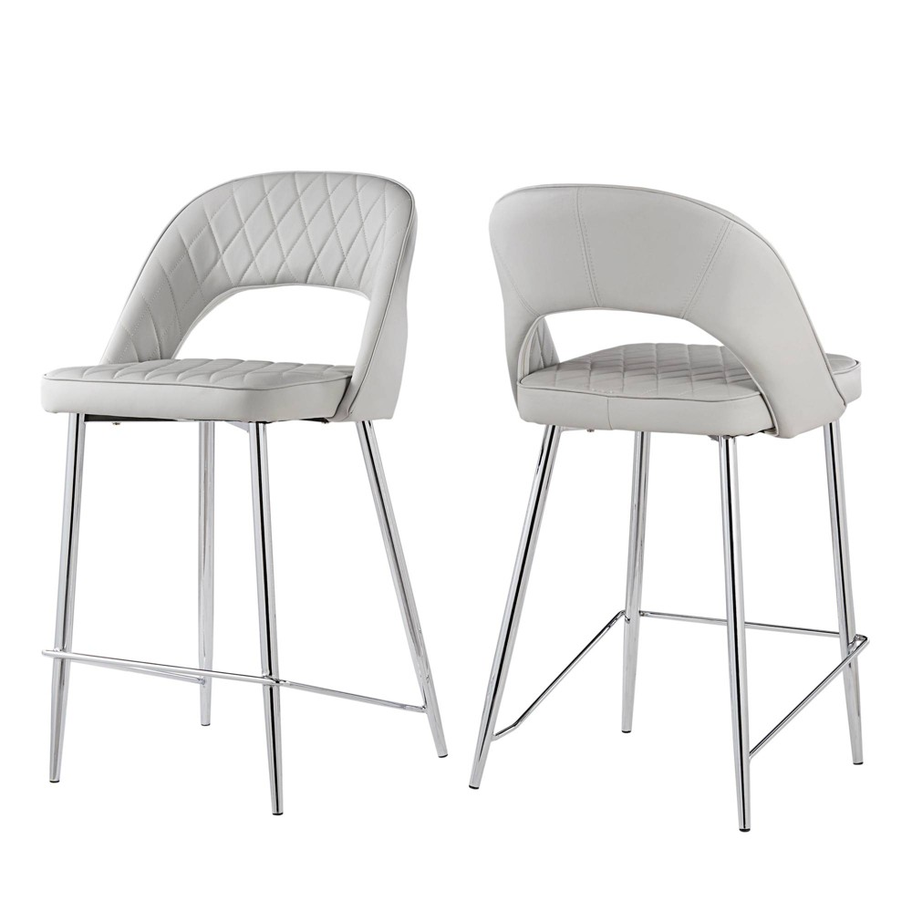 Awesome 24 Set Of 2 Alana Chrome Finish Counter Stool Quilted Faux Cjindustries Chair Design For Home Cjindustriesco