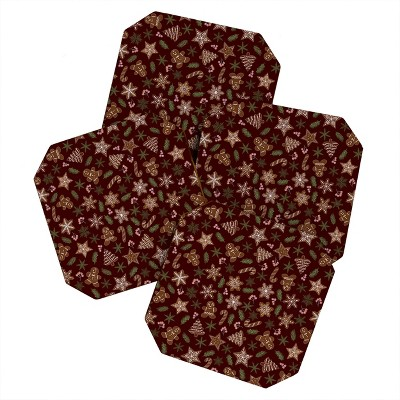 Iveta Abolina Gingerbread Cookies Red Set of 4 Coasters - Deny Designs