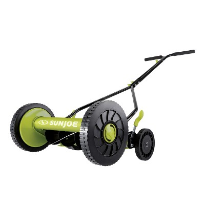 Sun Joe MJ503M Manual Reel Mower | 14-Inch | Quad Wheel | 9-Position.