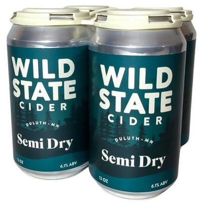 Wild State Semi Dry Hard Cider - 4pk/12 fl oz Cans