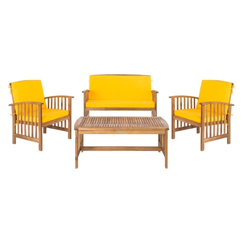 4pc Rocklin Outdoor Set Teak Look/Yellow - Safavieh - image 1 of 7