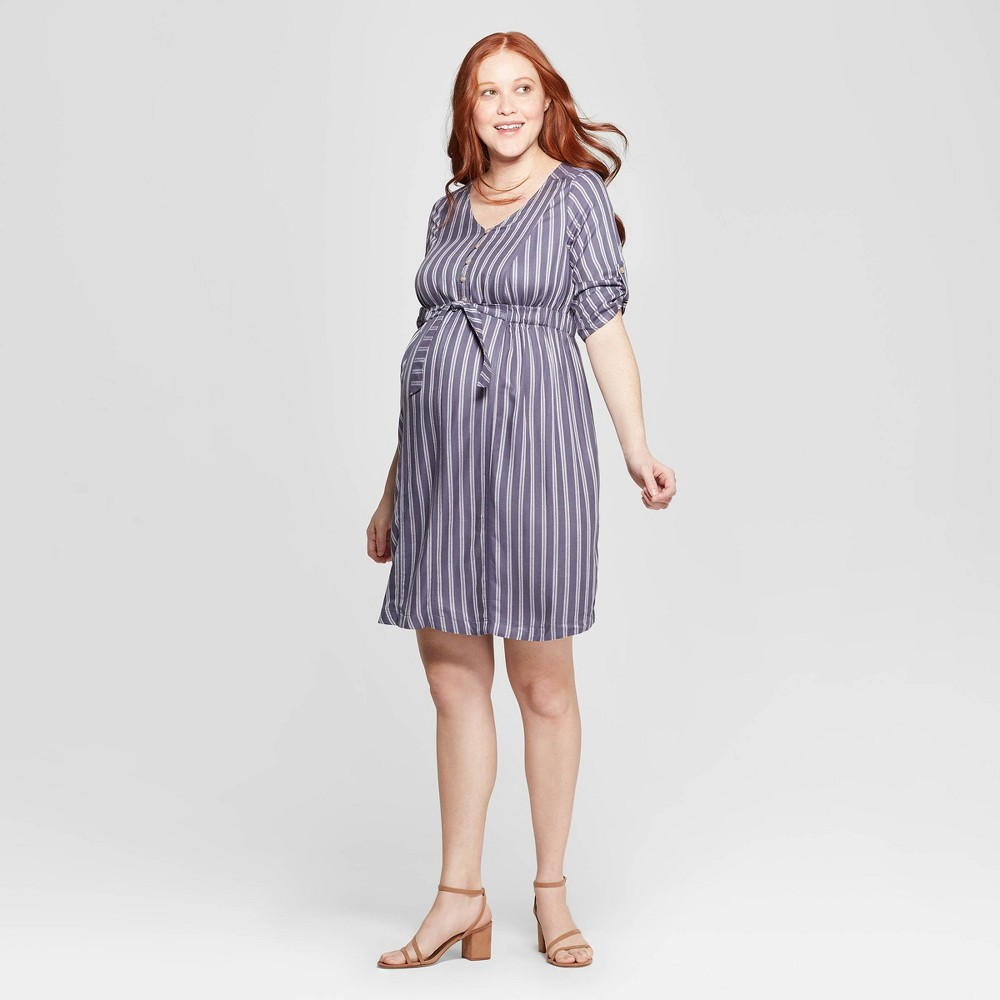 Maternity Striped 3/4 Sleeve V-Neck Tie Waist Shirtdress - Isabel Maternity by Ingrid & Isabel Indigo Xxl, Women's, Blue