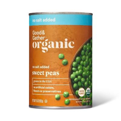 Organic No Salt Added Sweet Peas - 15oz - Good & Gather™