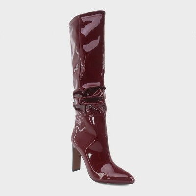 Women's Leigh Patent Slouch Tall Fashion Boots   Who What Wear™ Burgundy by Who What Wear