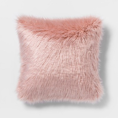 Mongolian Faux Fur Square Throw Pillow Blush - Project 62™