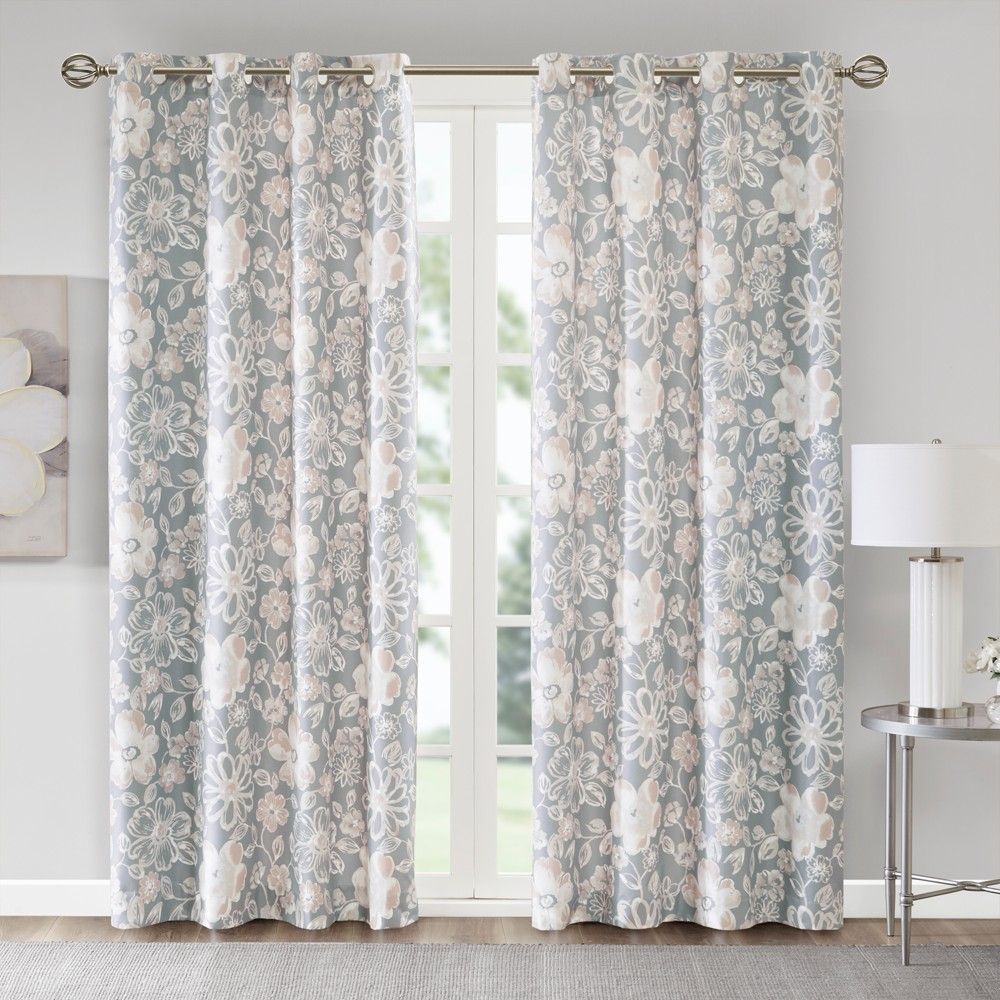 "Image of ""Jordan Floral Printed Foamback Curtain Panel Pair Gray 50""""x63"""""""