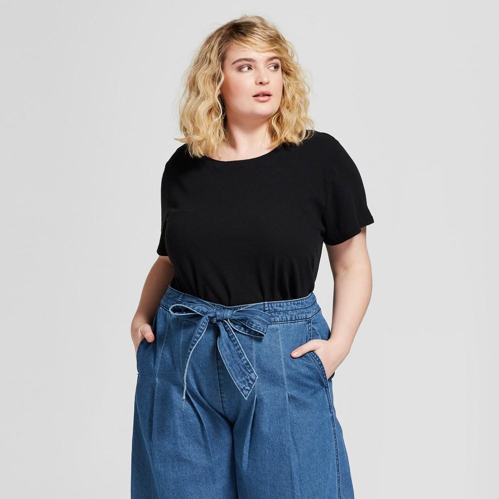 Women's Plus Size Meriwether Crew Neck Short Sleeve T-Shirt - Universal Thread Black 2X