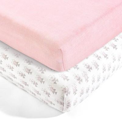 Lush Décor Pixie Fox Geo Organic Cotton Fitted Crib Sheet - Pink 2pk
