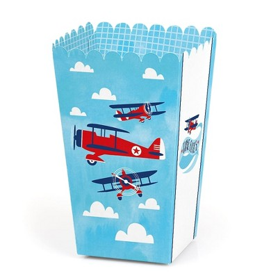 Big Dot of Happiness Taking Flight - Airplane - Vintage Plane Baby Shower or Birthday Party Favor Popcorn Treat Boxes - Set of 12