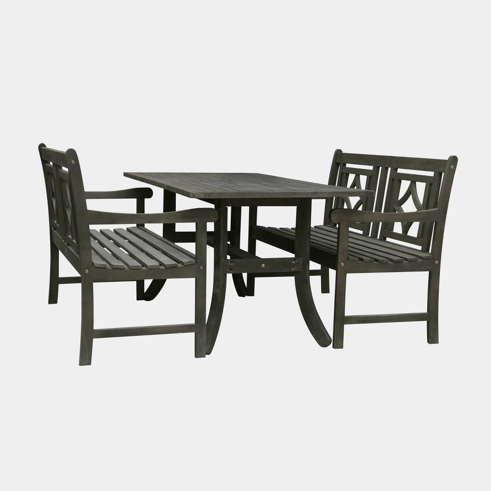 Renaissance 3pc Wood Curvy Outdoor Patio Dining Set - Gray - Vifah