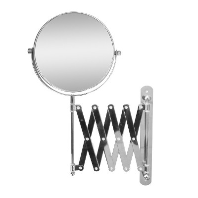 Extendable Wall Mount Bath Magnifying Makeup Mirror Light Silver - Elegant Home Fashions