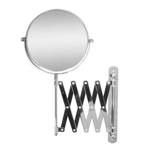 Extendable Wall Mount Bath Magnifying Makeup Mirror Light Silver