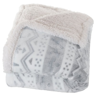 Gray/White Fleece Sherpa Blanket Throw Blanket - Yorkshire Home