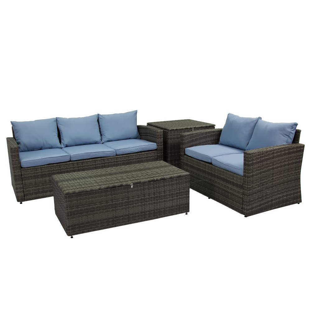 Image of 4pc Rio All-Weather Wicker Conversation set with Storage Gray/Blue - Thy Hom