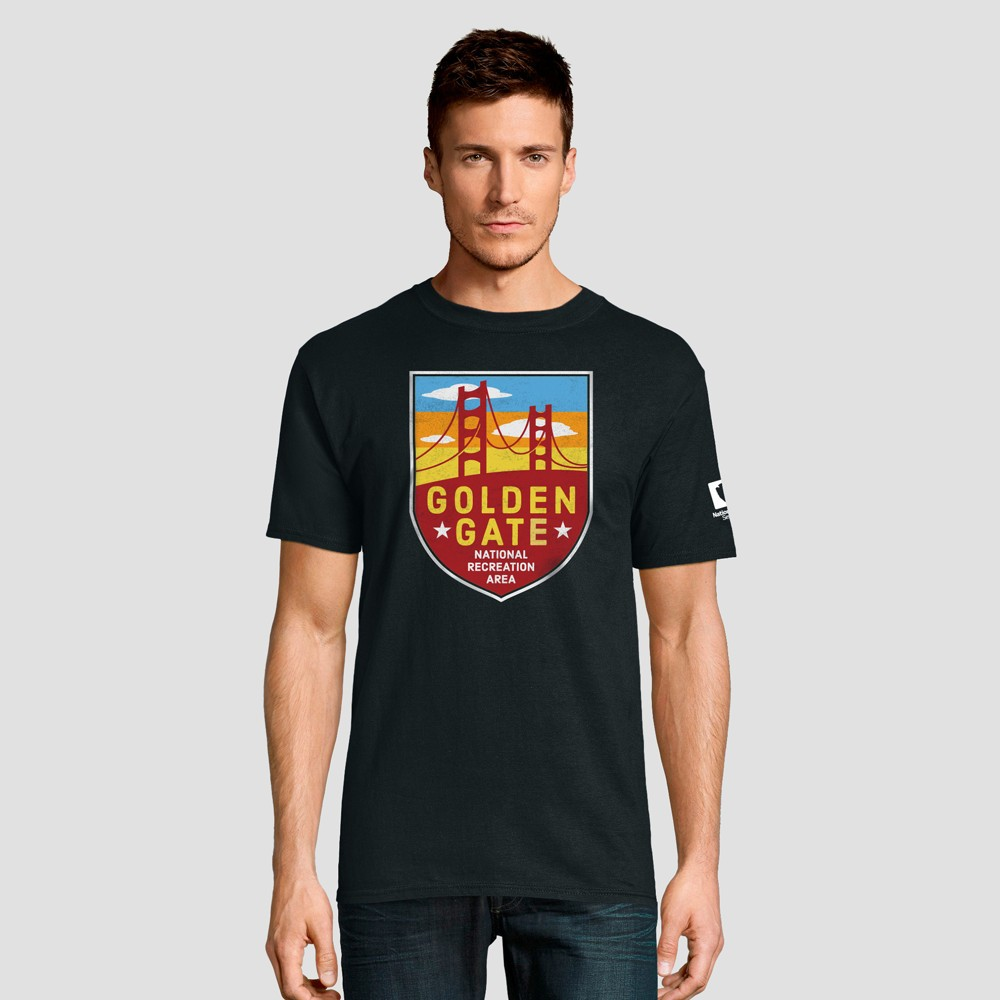 Hanes Men's Short Sleeve National Parks Golden Gate Graphic T-Shirt - Black M