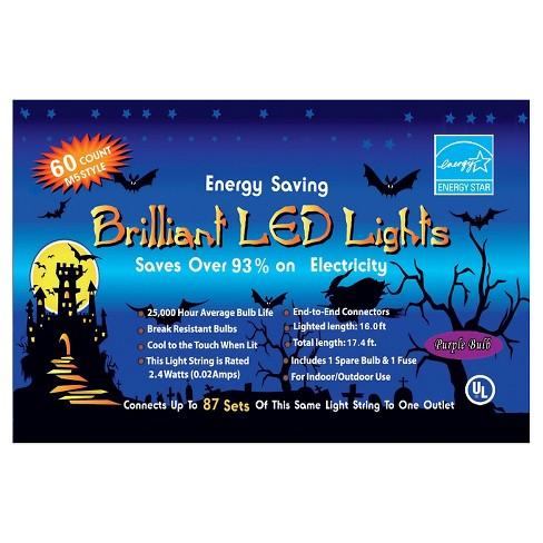 60ct Halloween Purple LED Light Set - image 1 of 1