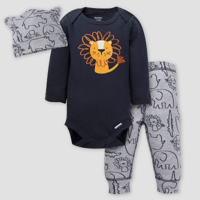 Gerber Baby Boys' 3pc Lion Top and Bottom Set - Gray 0-3M