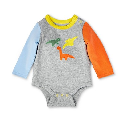 Baby Dino Embroidered Color Block Long Sleeve Bodysuit - Christian Robinson x Target Gray