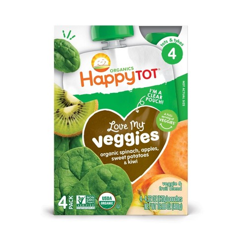 Happy Tot Love My Veggies Organic Spinach, Apple, Sweet Potato & Kiwi 4.22oz Pouch 4pk - image 1 of 3