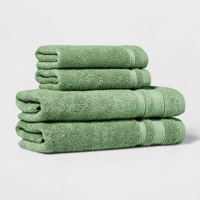 4pc Performance Hand Towel/Washcloth Set Green - Threshold™