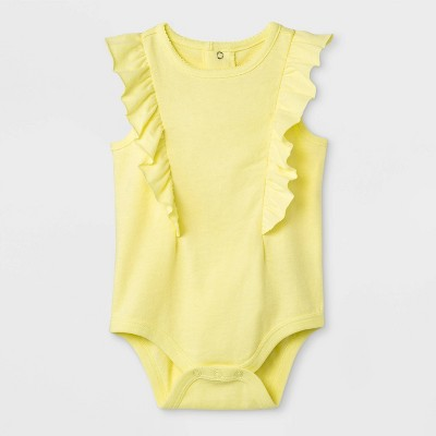 Baby Girls' Sleeveless Front Ruffle Bodysuit - Cat & Jack™ Yellow Newborn