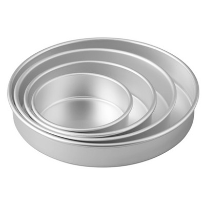 "Wilton 4pc Performance Pans Aluminum Round Cake Pans 6"", 8"", 10"" and 12"" Set"