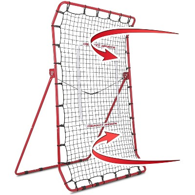 Rukket Sports Adjustable Pitch Back Baseball and Softball Rebounder Pro Practice Throwing Net Screen, Red