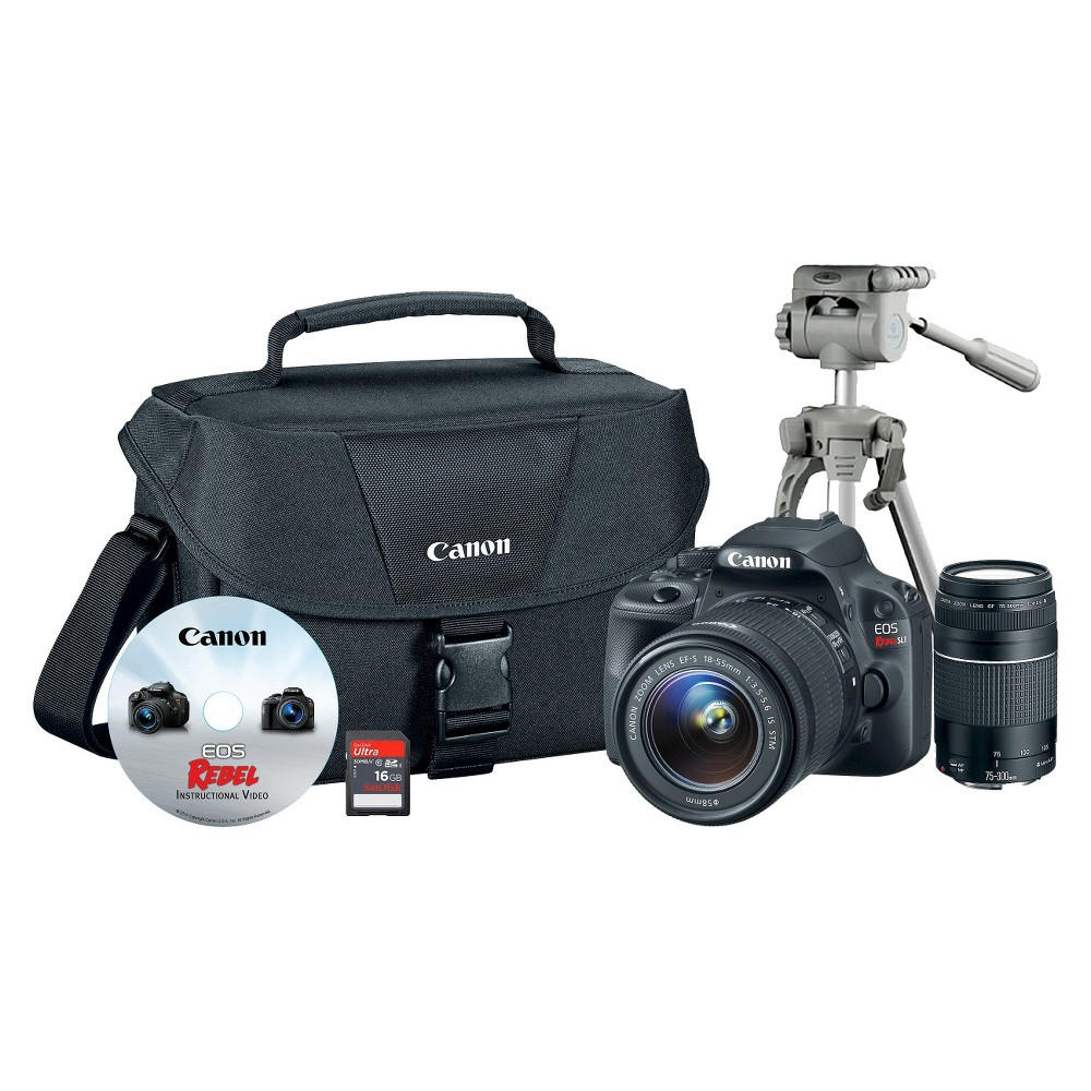 Canon Eos 18.0MP Digital Slr Camera Bundle with Camera Bag, Tripod, VR Lens and Memory Card - Black