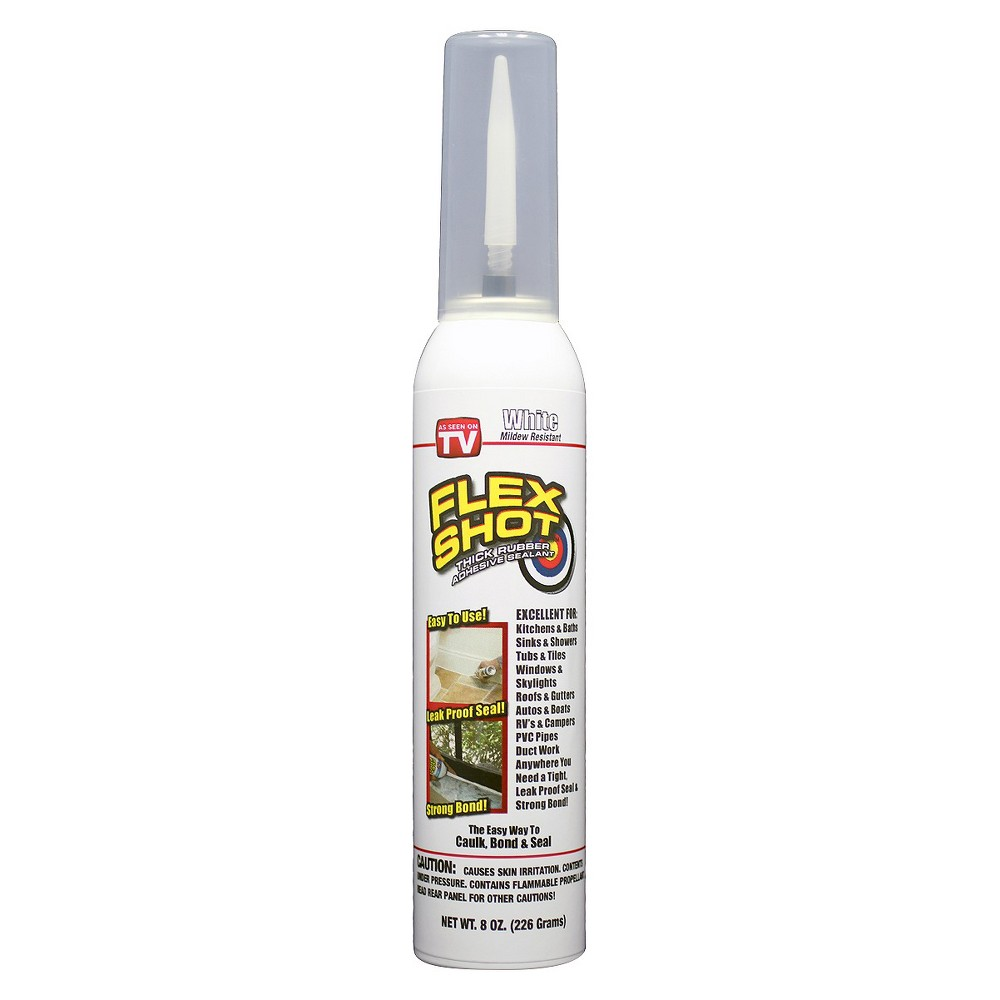 As Seen on TV Flex Shot Sealant - White The easy way to caulk, bond and seal virtually everything is here! From sealing drafty windows and filling huge cracks and holes to attach weather stripping and repairing decorative items, the Flex Shot Sealant is just what you need. Flex Shot comes in nice and thick and when you stop, it stops. That's not all, it's mildew resistant, making it perfect for kitchens and baths. The Flex Seal requires no caulking gun and stops leaks fast by seeping into cracks and holes to keep out air and moisture. Just a quick shot gives you a perfect bead! Color: White.