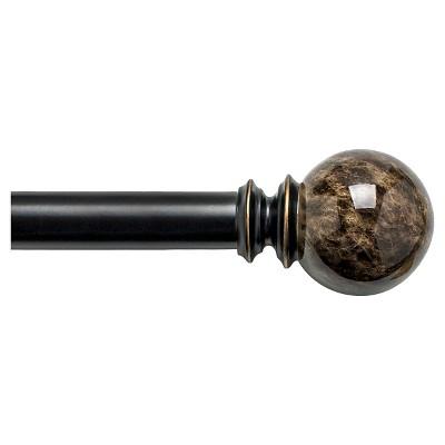 Bali 1  Faux Marble Ball Decorative Curtain Rod - Bronze (36-66 )