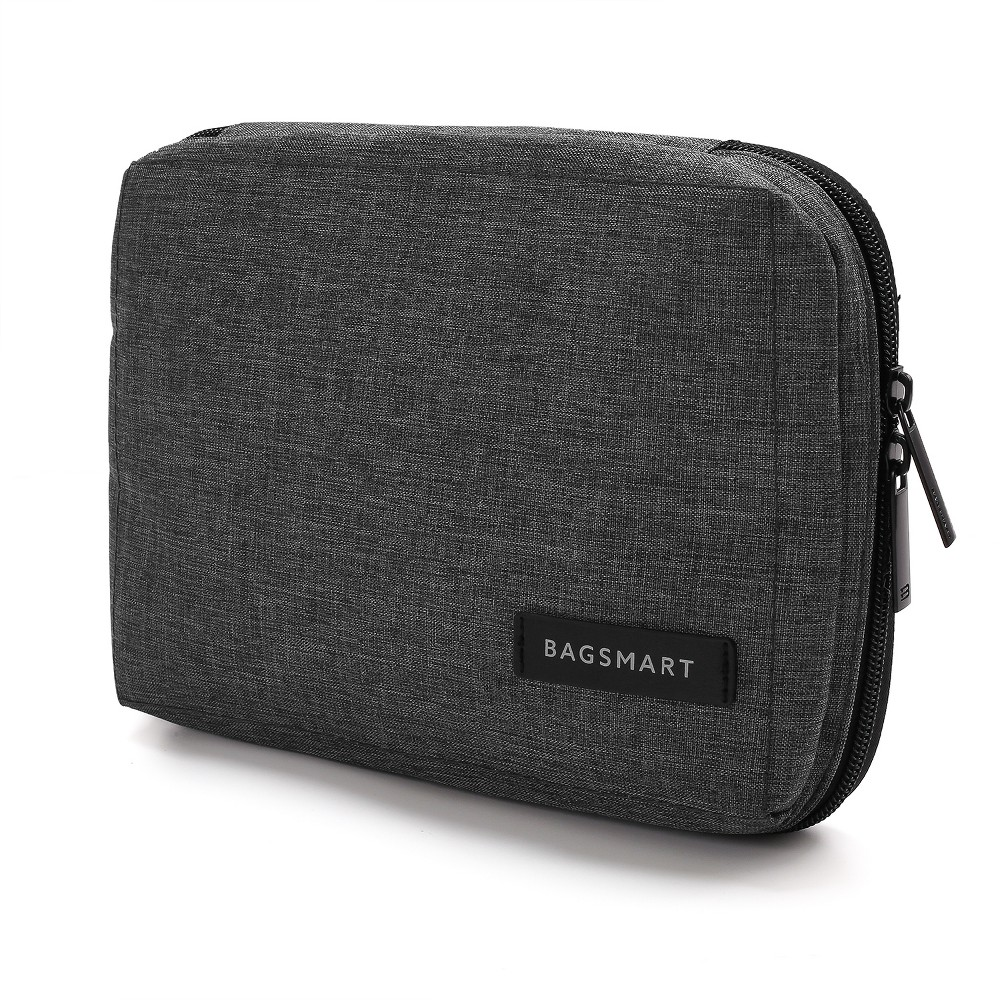 Smart Organizer Travel Electronics Cable Organizer Bag with Handbag Strap - Dark Gray Double zipper opening for easy and immediate access. Inner mesh pocket with zipper can fit portable hard drive . 5 mesh pouches with elastic loops expand to store multiple sizes of Usb drives . 7 Small elastic loops(slip-resistant) for storing various items like cables and headphones . 2 Large elastic loops(slip-resistant) for longer cable. 1 special SD card pouch to prevent your small SD card missing . 1 pocket under the mesh pocket for more items. Material: Water Repellent Polyester Color: Dark Gray. Gender: Unisex. Pattern: Solid.
