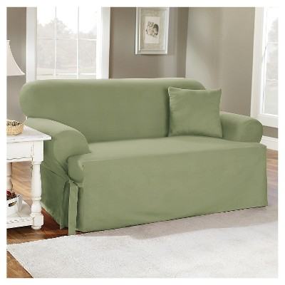 Cotton Duck Tcushion Loveseat Slipcover Sage Green - Sure Fit