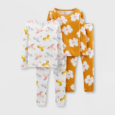 Toddler Girls' 4pc Floral Horse Snug Fit Pajama Set - Just One You® made by carter's Yellow/White