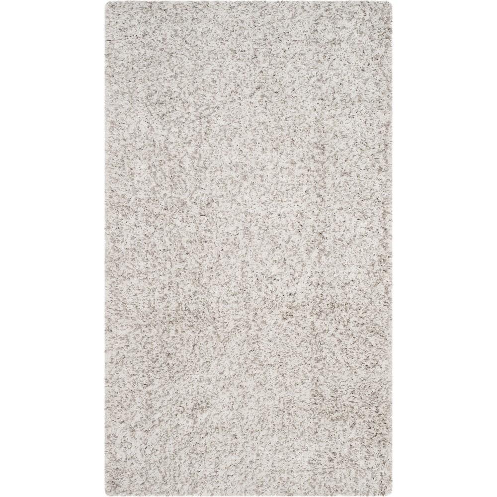 9'6X13' Solid Loomed Area Rug White/Light Gray - Safavieh