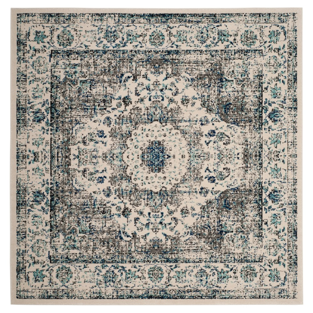Gray/Ivory Abstract Loomed Square Area Rug - (9'X9') - Safavieh, Ivory/Blue