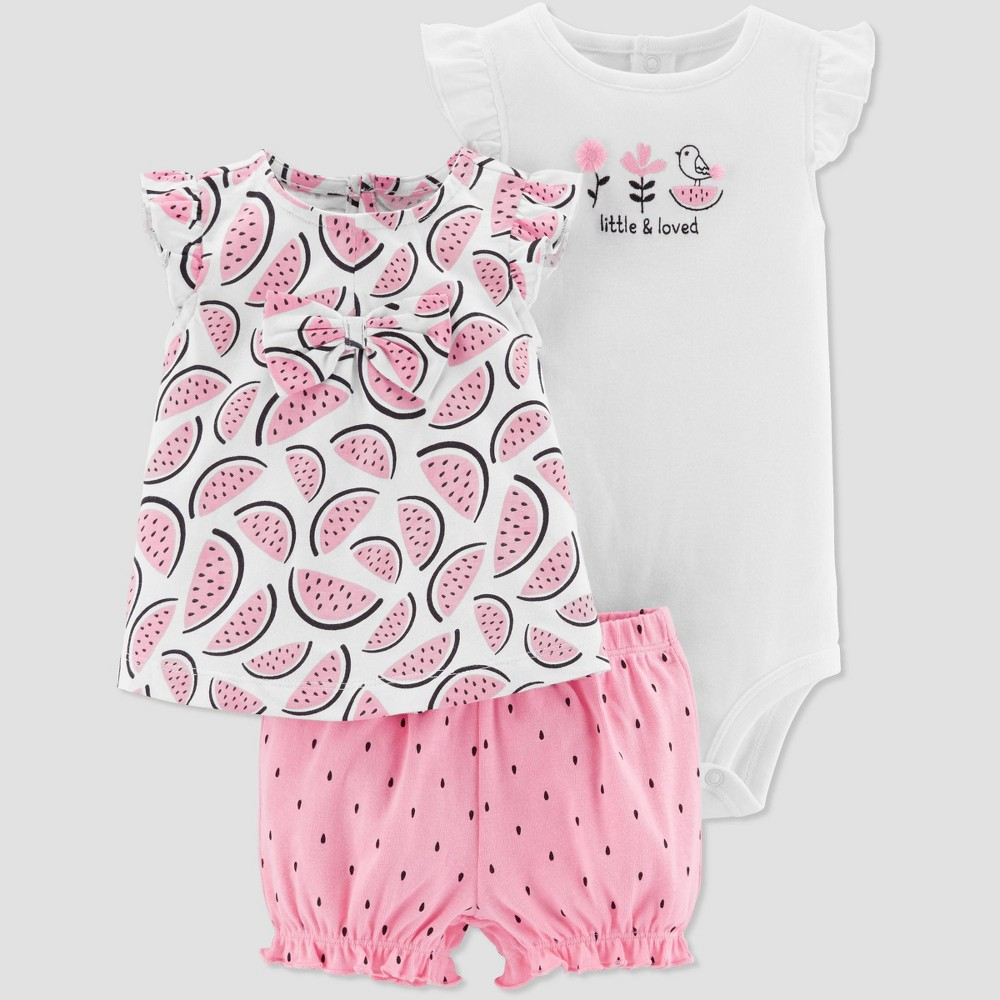 Baby Girls' 3pc Watermelon Diaper Cover Set - Just One You made by carter's Pink/White 24M