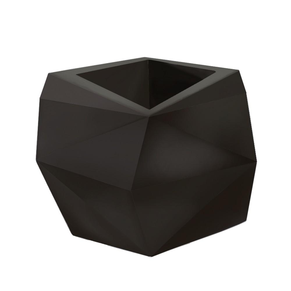 26'' Square Origami Tall Planter - Black - Crescent Garden
