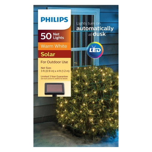 philips 50ct christmas solar net lights warm white gw target
