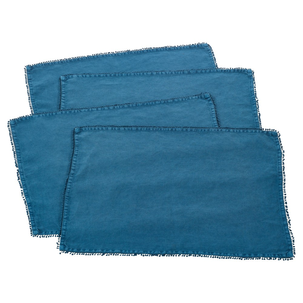 Best Shopping Set Of 4 Ocean Blue PomPom Design Placemat 14x20 Saro Lifestyle