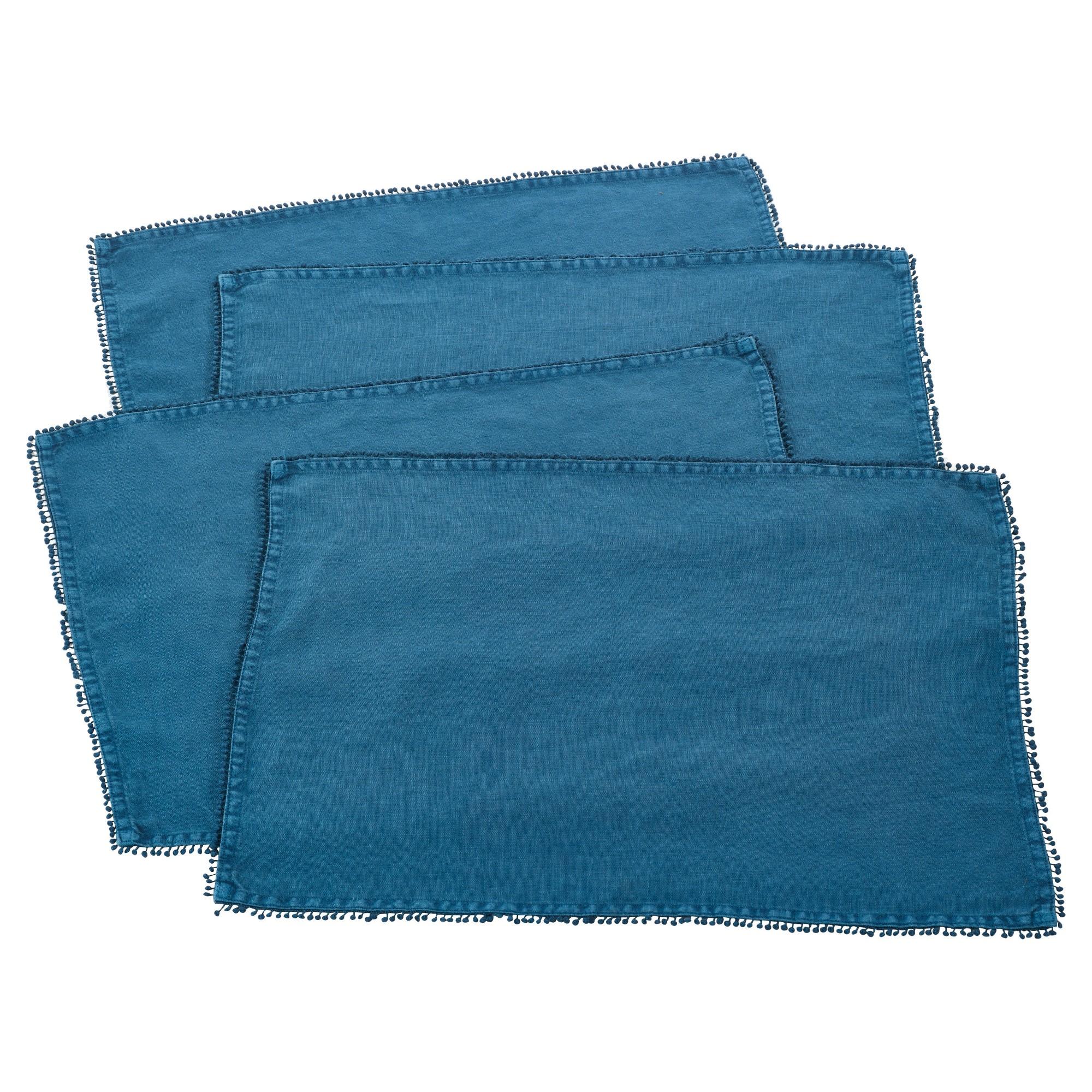 (Set of 4) Ocean Blue PomPom Design Placemat 14