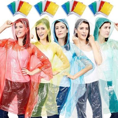 Juvale 20 Pack Disposable Rain Ponchos, Adults Emergency Waterproof Raincoat with Hood, 5 Colors