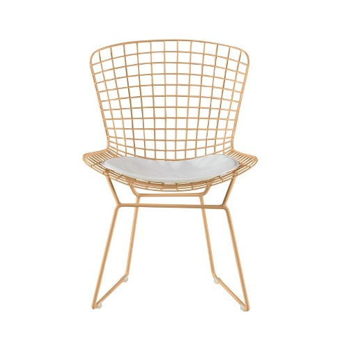 Holly Wire Chair Set of 2 Gold - Adore Decor - image 1 of 3