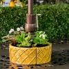 "4.75"" Handmade Glazed Ceramic Trellis Umbrella Half Moon Shaped Planter Gold - Alfresco Home LLC - image 4 of 4"